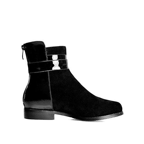 Amoonyfashion Dames Ronde Neus Gesloten Teen Laarzen Met Lage Hakken Met Rits Aan De Achterkant En Vierkante Hielen Zwart