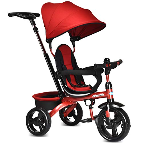 INFANS Kids Tricycle, 4 in 1 Stroll Trike with Adjustable Push Handle, Removable Canopy, Retractable Foot Plate, Lockable Pedal, Detachable Guardrail, Suitable for 10 Months to 5 Years (Red) ()