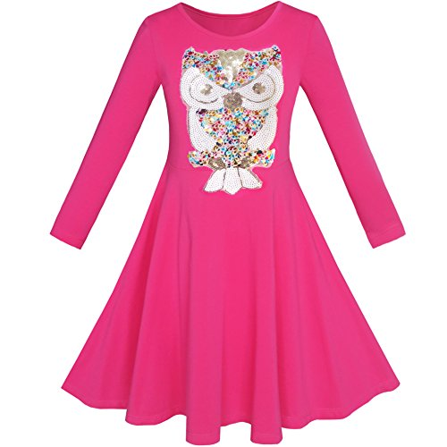 KD12 Girls Dress Owl Ice Cream Sequin Everyday Dress Size 8