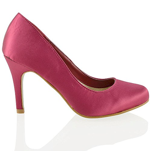 Essex Glam Femmes Stiletto Talon Chaussures Slip On Nuptiale Satin Bout Rond Chaussures De Mariage Bourgogne Satin