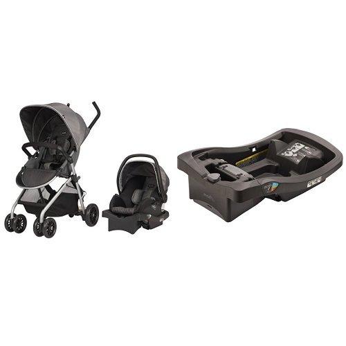 (Evenflo Sibby Travel System, Highline Gray with LiteMax Infant Car Seat Base, Black)