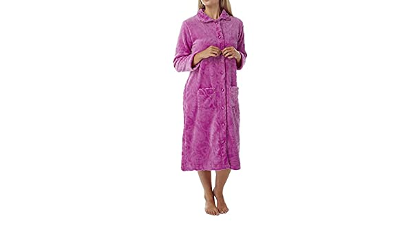 Ladies Womens Dressing Gown Robe Button Bath House Coat Soft Warm 16 18   Amazon.ca  Clothing   Accessories 3b00c05cc