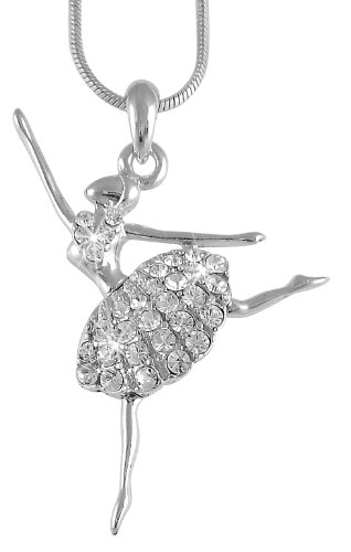 Cute Ballerina Ballet Dancer Dance Pendant Necklace Fashion Jewelry (Clear)