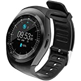 Raptas RapGear Y1 SIM/TF Card Slot Sync Calls, Messages and Notifications Supported Round Bluetooth Smartwatch for All Smartphones