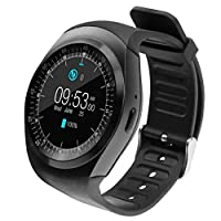 Raptas Y1 Round Bluetooth Smart Watch with SIM Card TF Card Slot Sync Calls, Messages and Notifications for Redmi 6 Pro
