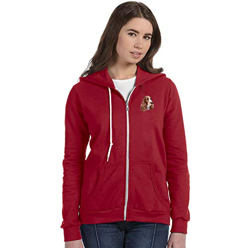 Cherrybrook Breed Embroidered Anvil Full Zip Ladies Hoodie - Small - Independence Red - English Springer Spaniel