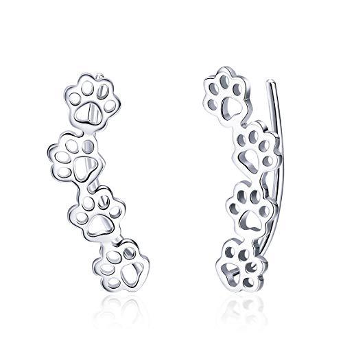 WOSTU Silver Climber Earrings 925 Sterling Silver Ear Crawler Earrings Cuff Stud Earrings for Women