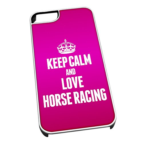 Bianco Custodia protettiva per iPhone 5/5S 1774 Pink Keep Calm e Love Horse Racing