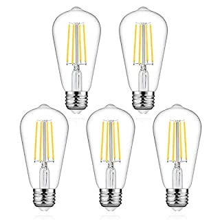 Defurhome LED Edison Bulbs, 60W Equivalent, 700Lumens, Daylight White 4000K, 6W ST58 LED Filament Light Bulbs, Antique Style Lighting, E26 Medium Base, Non Dimmable - Pack of 5