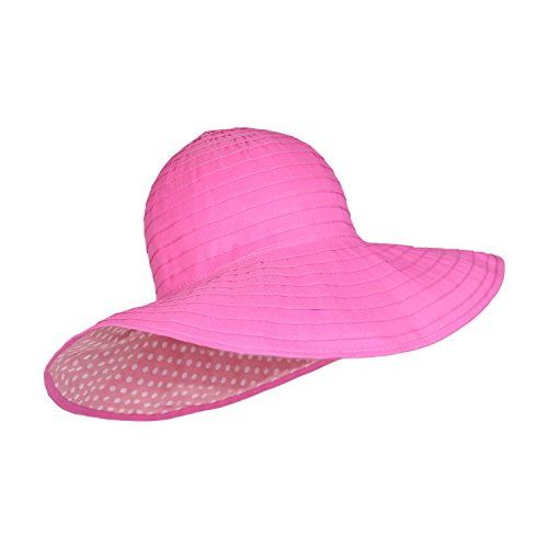 cute-ribbon-sun-hat-wide-shapeable-polka-dot-brim-crushable-packable-bright-pink