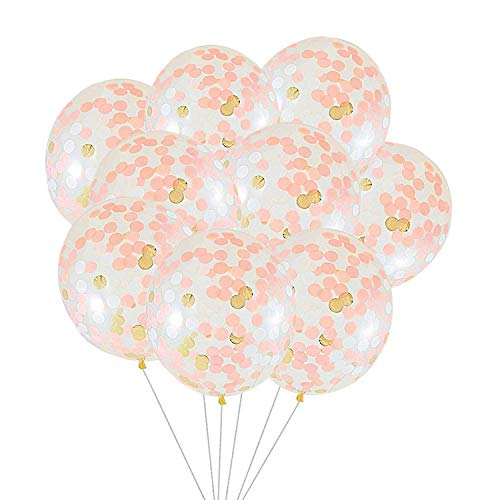 SOTOGO 15 Pieces Confetti Balloons 12 Inches Large Balloons with Golden, Light Pink and White Paper Confetti Dots for Party Decorations Wedding Decorations and Proposal