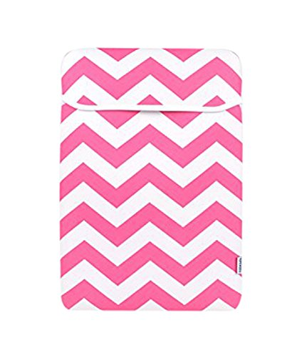 """TOP CASE Chevron Series Sleeve Bag Cover for All 13"""" Laptop Notebook/MacBook Pro/Air/MacBook White/Ultrabook/Chromebook with Chevron Mouse Pad, Pink"""