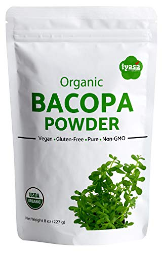 Organic Bacopa Powder (Brahmi Leaf),Value Pack of 8 Oz/225 Gm, USDA Organic, Natural Hair Care, Ayurveda Superfood ,Resealable Pouch of 8 oz