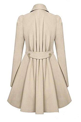 Botones con Albaricoque Mujer Elegante Bloque Color Mangas Abrigo ACHICGIRL Moda Largas Y7fv0x