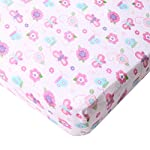 Big-Oshi-Fitted-Mini-Crib-Sheet-for-Portable-Cribs-or-Mini-Cribs-Fits-Mattresses-up-to-3-Inches-Deep-Knitted-100-Cotton-Pink-Butterflies-and-Flowers-Pattern-Pink