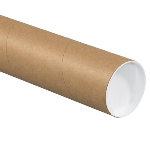 Aviditi P4024KHD Fibreboard 3-Ply Spiral Wound Heavy-Duty Mailing Tube with Cap, 24' Length x 4' Width, Kraft (Case of 12)