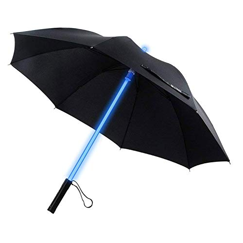 BESTKEE LED Umbrella - Lightsaber Laser Sword Light up Umbrella with 7 Color Changing On The Shaft/Built in Torch at Bottom (Black) -