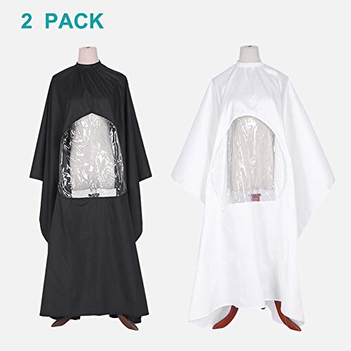 Pack of 2 Barber Cape Haircut Gown Professional Salon Cutting Barber Hairdressing Haircut Barber Gown Cape Hairdresser Apron Lightweight with Viewing Window for Hair Cutting Black & ()