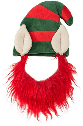 Friends Forever Elf Hat with Beard Red Costume for Pet Dog Wig Festival Party Fancy Hair Cat Clothes Lion Mane ()
