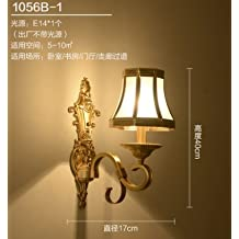 WYMBS European-style living room all copper bedroom bedside lamp base Europe living room TV wall wall lights,
