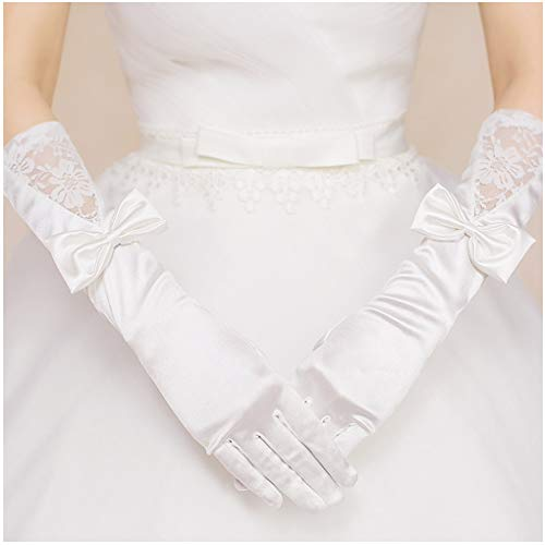 CanB Women's Wedding Gloves Elbow Length Satin Lace
