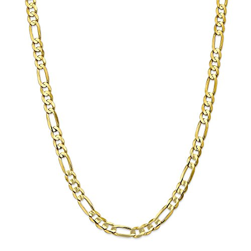 Roy Rose Jewelry 10K Yellow Gold 6.75mm Light Figaro Link Chain Bracelet ~ Length 7'' (7' Figaro Chain Bracelet)