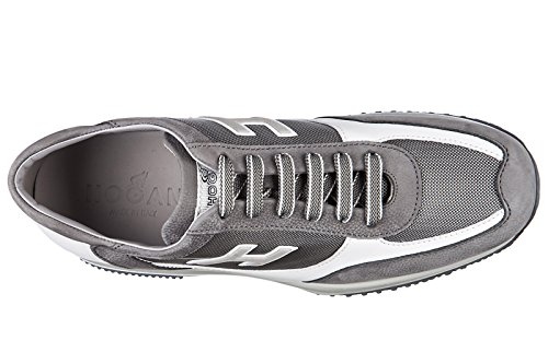 Hogan chaussures baskets sneakers homme en cuir new interactive h flock gris