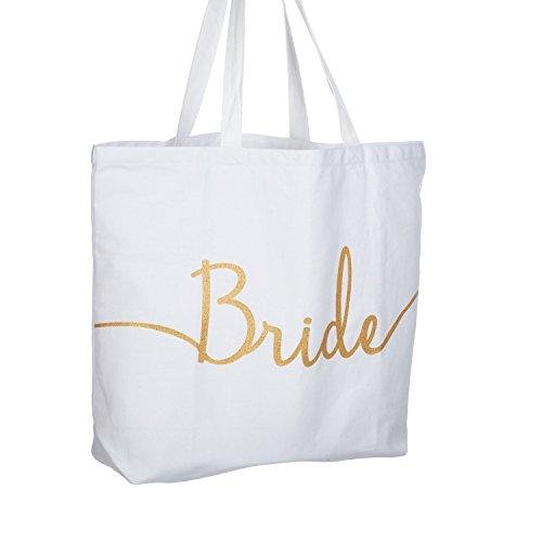 Bridal Bag (ElegantPark Bride Jumbo Tote Bag Wedding Bridal Shower Gifts Canvas 100% Cotton Interior Pocket White with Gold Glitter)