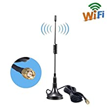 SMA WiFi 4G Antenna, Aigital 11DBI GSM High Gain 4G LTE Antenne Wireless Signal Booster Amplifier Modem Adapter Network Reception Long Range Extender With 3M Wi-Fi Extension Cable Magnet Base (Black)