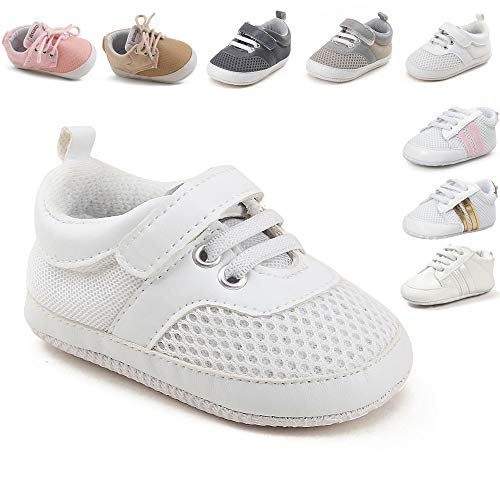 (Tutoo Unisex Baby Infant Boy Girl Mesh Sneaker Cloth Prewalker Crib Crawling Shoes First Walkers Shoes Soft Breathable (6-12 Months M US Infant, B01-white))