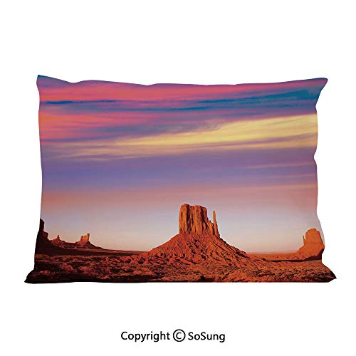 (United States Bed Pillow Case/Shams Set of 2,Monument Valley West Mitten and Merrick Butte Sunset Utah Desert Queen Size Without Insert (2 Pack Pillowcase 30
