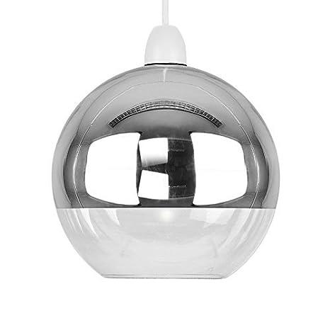 MiniSun - Moderna pantalla para lámpara de techo del famoso estilo arco, con forma de globo, en dos tonos con efecto cromado y cristal transparente