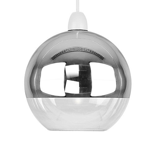 Modern two tone chrome effect clear glass globe arco ball ceiling modern two tone chrome effect clear glass globe arco ball ceiling pendant light shade aloadofball Images