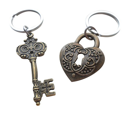 (Large Bronze Key and Heart Lock Keychain Set- You've Got The Key To My Heart; 8 Year Aniversary Gift, Couples Keychain)