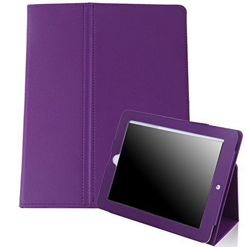 HDE iPad 1 Case - Slim Fit Leather Cover Stand Folio with Magnetic Closure for Apple iPad 1 1st Generation (Purple)