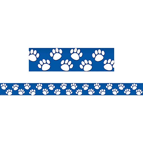 Teacher Created Resources TCR4620BN Blue/White Paw Prints Straight Border Trim, 35' Per Pack, 6 Packs]()
