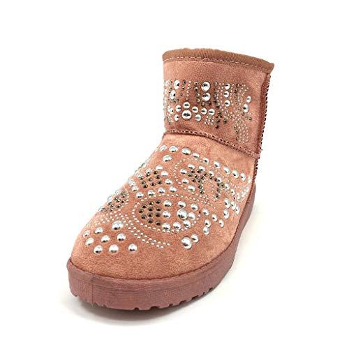 Tient Chaud Femme Mode Chaussure Perle Clouté Bottes Bottine Confortable Neige Cm Plat 2 Angkorly Rose Talon De vFUWW