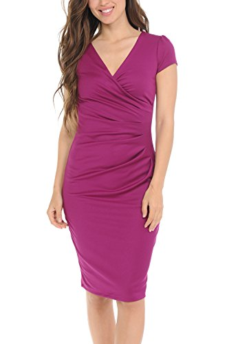 Auliné Collection Womens V-Neck Zip Up Work Office Career Side Wrap Sheath Dress Magenta Small