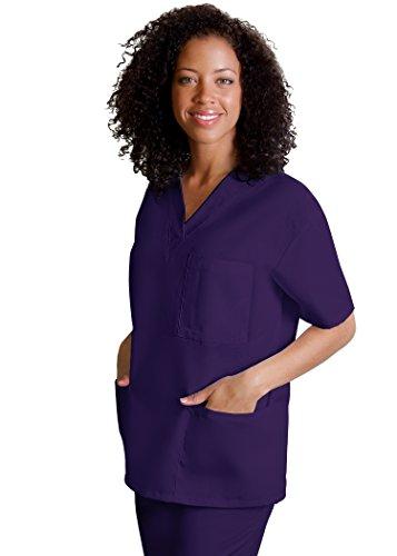 AZ Uniforms Men Women Adults V-Neck 3 Pocket Halloween Costume Party Tunic Top - 601 - Purple - (Wonder Twins Halloween Costumes)