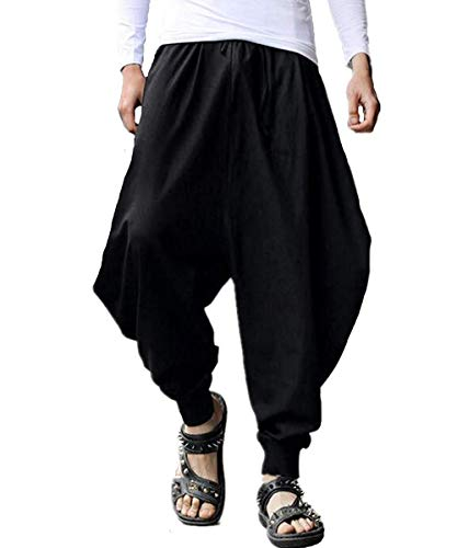 AITFINEISM Men's Casual Baggy Boho Aladdin Hippie Yoga Harem Pants (38-40 inch, Black) (Harem Pants For Men)