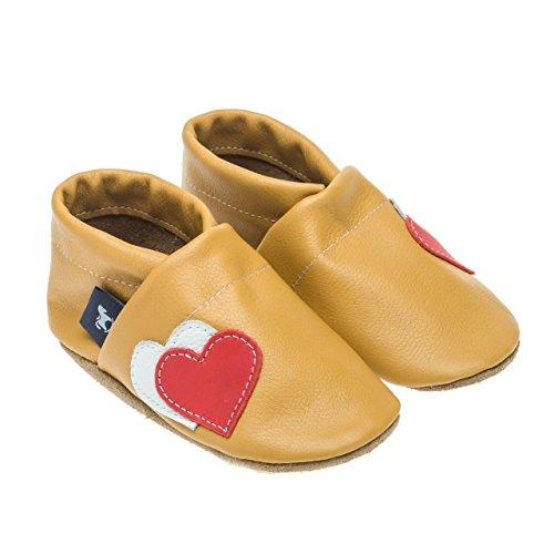 pantau.eu Lederpuschen Leder Hauschuhe Puschen Pantoffeln Schluffen Patschen Schlappen mit Herzen, Größen 36-45 GELB_ROT_WEISS