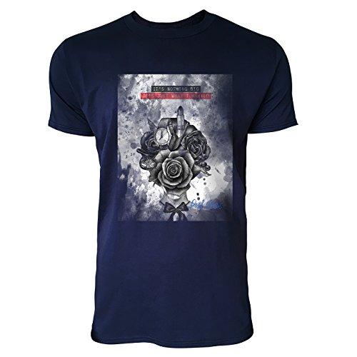 SINUS ART® Modeillustration mit Blumenkopf Herren T-Shirts in Navy Blau Fun Shirt mit tollen Aufdruck