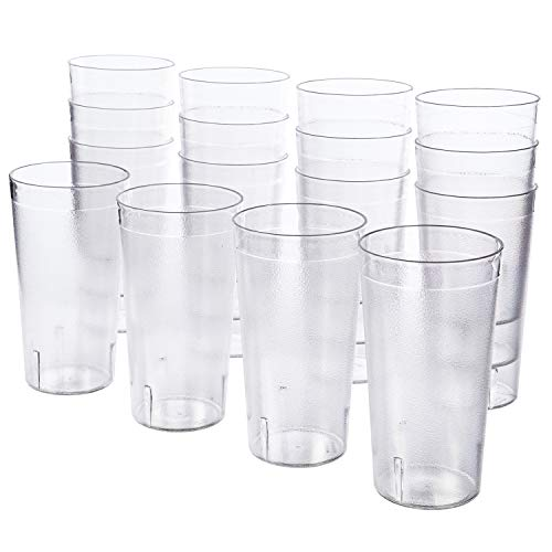 - Cafe 20-ounce Break-Resistant Plastic Restaurant-Style Beverage Tumblers | Set of 16 Clear