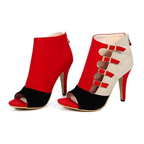 Mujer y Ladies Fleece Toe Color 39 Career Verano amp; Vestido Noche Heel Stiletto de Zapatos Tacones Office Peep Hebilla Primavera Fiesta tamaño Club Zapatos Rojo 5qwUPxO1E