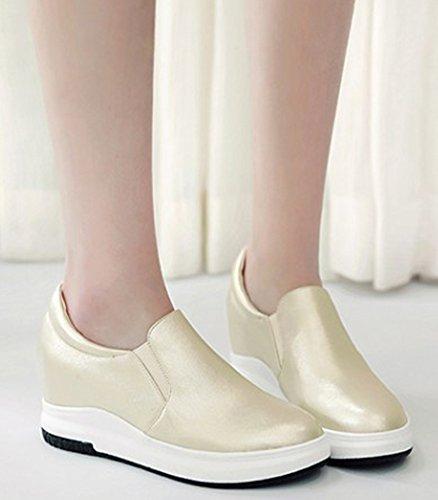 Sfnld Womens Comfortable Low Top Hidden Heels Slip On Fashion Sneakers Gold Gjac6