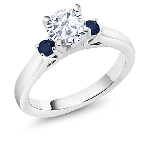 0.94 Ct White Created Moissanite Blue Sapphire 925