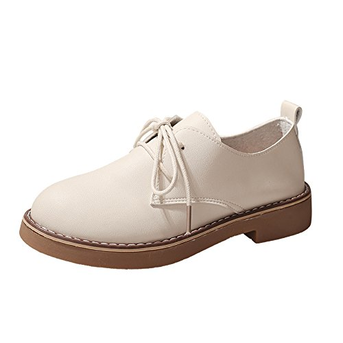 (Sherostore ♡ Women's Shoe Classic Lace Up Dress Low Flat Heel Leather Perforated Oxford Shoes for Girls Ladis Beige)