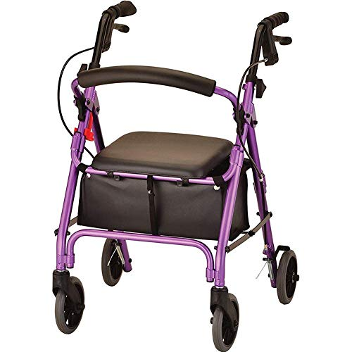 Underseat Basket Storage - ALXLX Lightweight Aluminium Rollator Elderly Walker with Padded Seat and Underseat Basket, Height Adjustable Handles & Back Support, Folds for Storage