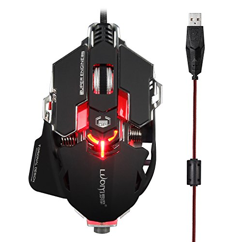LUOM G10s Mechanical Gaming Mouse Wired RGB Backlit 10 Programmable Buttons 4000 DPI,16.8 million Color Breathing Lights,4 Adjustable DPI Levels (Upgraded Version)