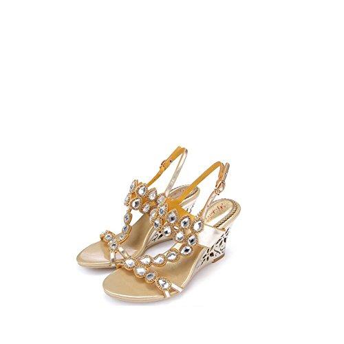 Grande Sandalias de Hermoso Zapatos Femeninas Casual Cristal Atractivas de Moda señoras Playa Sandalias Moda Rhinestone Zapatos Verano Mujer Alto Sandalias de tacón de wggqXnTHA